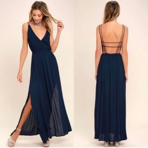 LULU'S Lost In Paradise Navy Strappy Maxi Dress